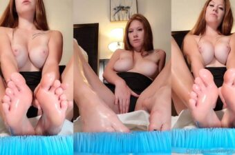 Ginger ASMR Nude Rubbing Oil And Lotion All Over My Feet Onlyfans Video